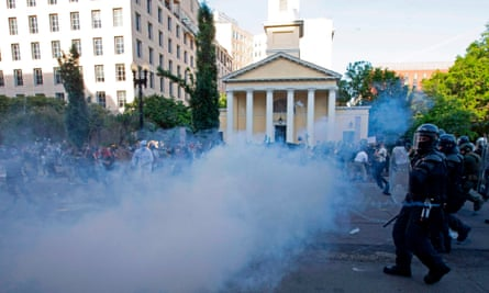 Police used teargas and rubber bullets to clear protesters from outside the White House.