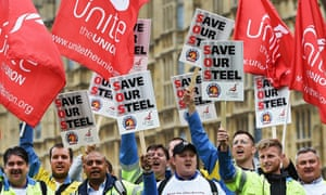 Steel workers rally in London over the fate of Tata's UK operations.