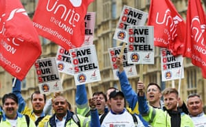Steel workers marching through London yesterday.
