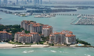 Fisher Island, a private island with a golf course, two marinas and 17 tennis courts.