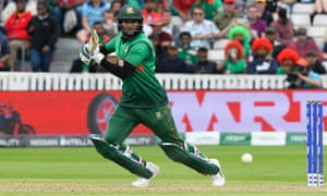 Shakib Al Hasan hits a four on his way to 124 against West Indies at Taunton on Monday.