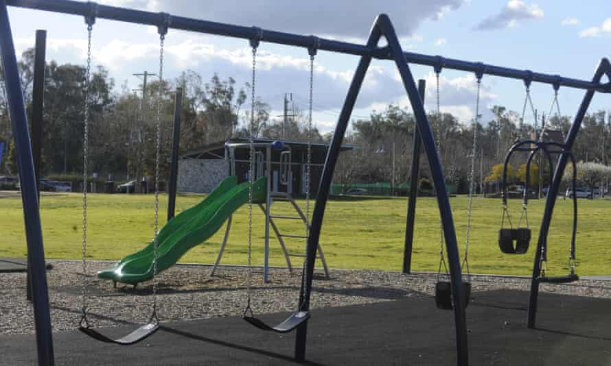 An empty playground on a sunny day at Shepparton's Victoria Park Lake.