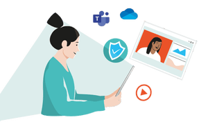 Illustration of woman using tablet computer to videoconference