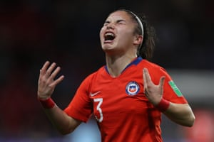 Javiera Grez of Chile reacts after getting injured during a group F match between Thailand and Chile at Roazhon Park.