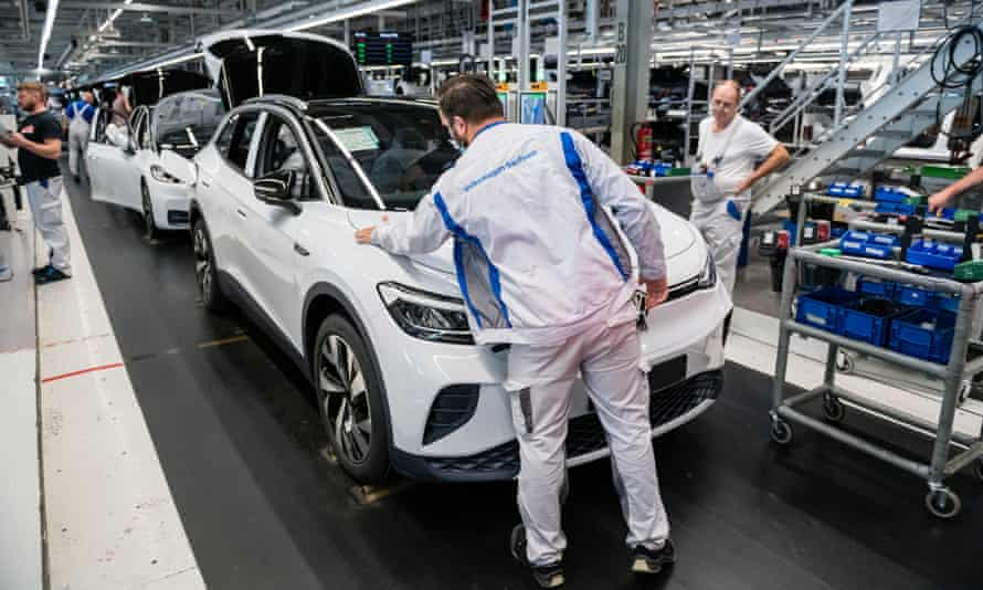 Workers assemble the Volkswagen ID.4 electric sport utility vehicle