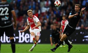 Frenkie de Jong shoots on goal during Ajax's 5-0 win over Emmen in the Eredivisie last month.