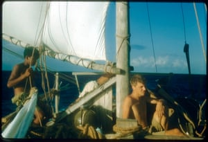 En route for Komodo. Becalmed, we waited for days for a puff of wind to send us on our way.