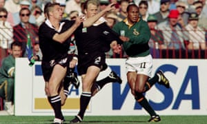 Chester Williams, right, during the Rugby World Cup final between South Africa and New Zealand at Ellis Park, Johannesburg, in 1995.