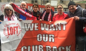 Leyton Orient fans outside court in London, where the club faced a winding-up petition.