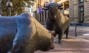 Th Bull and Bear outside the Deutsche Boerse stock exchange, in Frankfurt, where the bulls had the upper hand