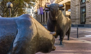 The Bull and Bear statues outside the Deutsche Boerse stock exchange in Frankfurt (where the bears had the upper paw....)