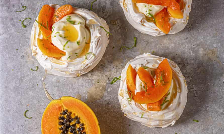 Marvellous meringues: papaya pavlovas.