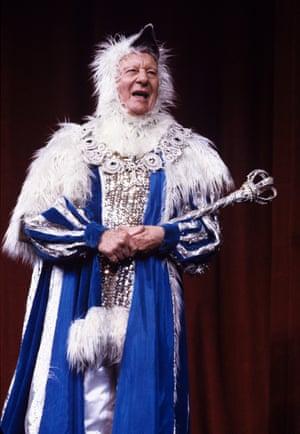 John Gielgud in Mother Goose, 1984. Gielgud and Elton John performed together in this benefit pantomime for the Theatre Museum, London, singing a duet of 'Me and My Shadow.'