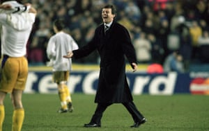David O'Leary celebrates after Leeds beat Anderlecht at Elland Road