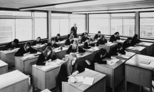 A 1970's classroom – many had asbestos boards until the substance was banned in the 1980s.