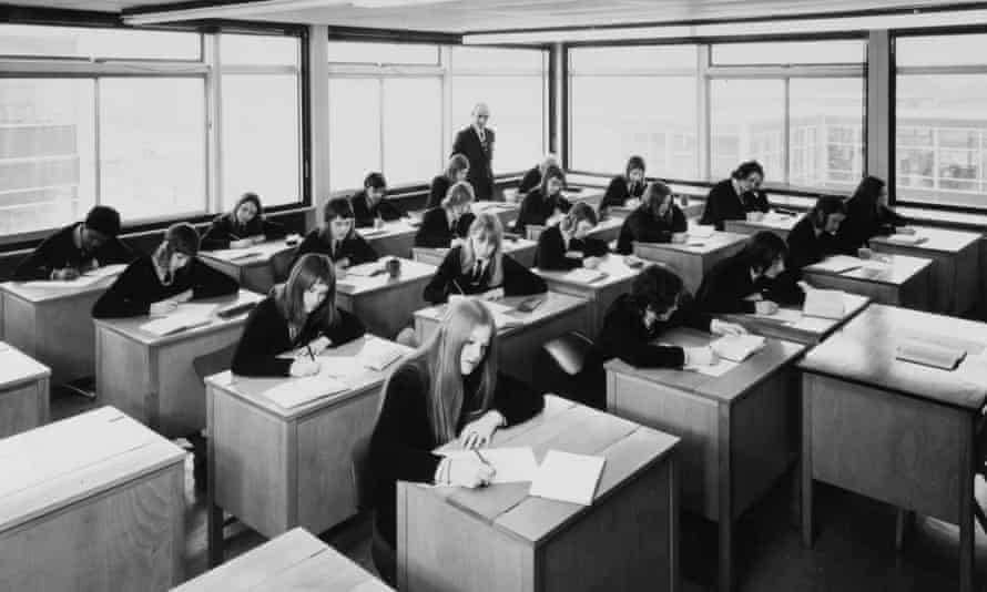 A classroom in a London school in the 1970s: 'I'm finding it hard to remember much about the design of my schools. All I can honestly say is that they were greyish-brown in colour and square in form.'