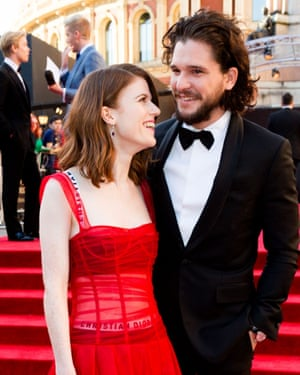 Kit Harington and fiancee Rose Leslie at this year's Olivier awards.