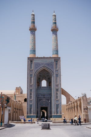 The Jāmeh Mosque of Yazd's minarets are the highest in Iran at 52 metres. The mosque dates to the 12th century, although it was largely rebuilt between 1324 and 1365.