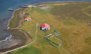 Aerial shot of farm buildings on Bleaker Island. Falklands.