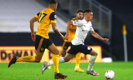 Phil Foden powers away from Roman Saïss and there is more responsibility on the young England midfielder this season after David Silva's exit.