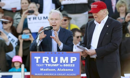 Jeff Sessions speaks at a campaign rally with Donald Trump in Madison, Alabama.