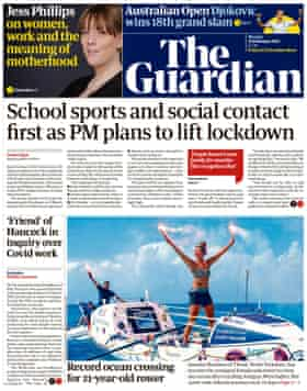 Guardian front page, Monday 22 February 2021