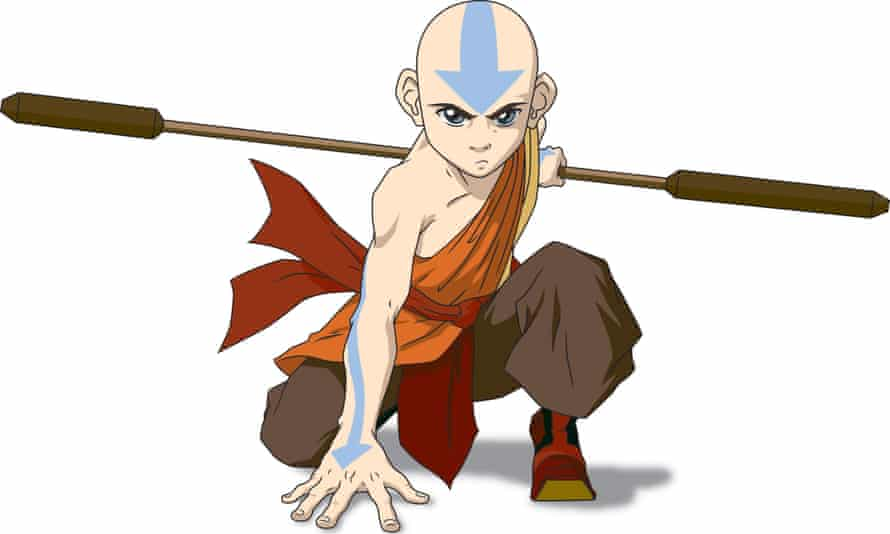 Still from the TV series Avatar: The Last Airbender, showing main character Aang