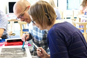 Delegates look at visual literacy and connected literature as a means of inspiring reading and writing during the British Library's workshop at the Guardian Education Centre Reading for pleasure conference 4 July 2019