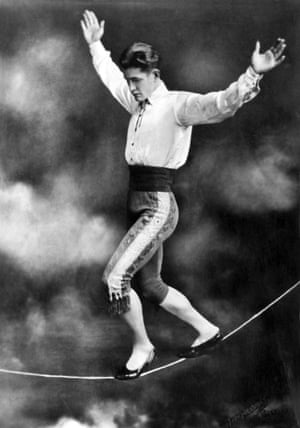 Tightrope walker Con Colleano performing on a slack wire, 1936. He was the first to successfully do a forward somersault on a tightrope.