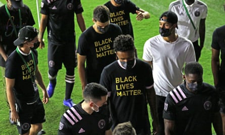Inter Miami players leave the field after they and Atlanta United agreed not to play their MLS game.
