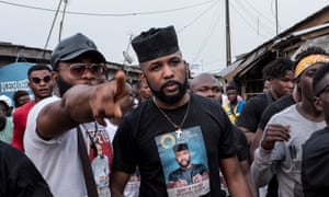 Banky W (centre) at a campaign rally in Lagos in January 2019