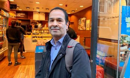 Kshitij Patel outside the Great Portland Street branch of Greggs.