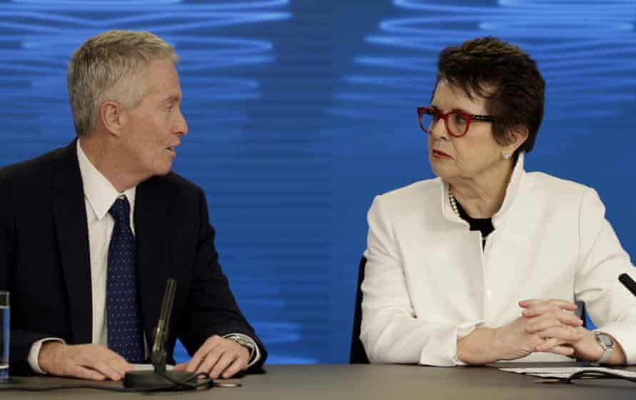 Billie Jean King talks with Australian Open tournament director Craig Tiley.