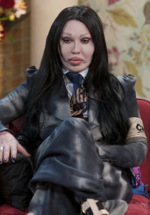September 2010 Pete Burns 'This Morning' TV Programme Pete Burns joins Phillip and Holly along with the Guinness world record holder for having the most plastic surgery procedures Cindy Jackson and celebrity Fitness Guru Irene Estry who thinks plastic surgery is only a quick fix and that we should all embrace growing old gracefully.