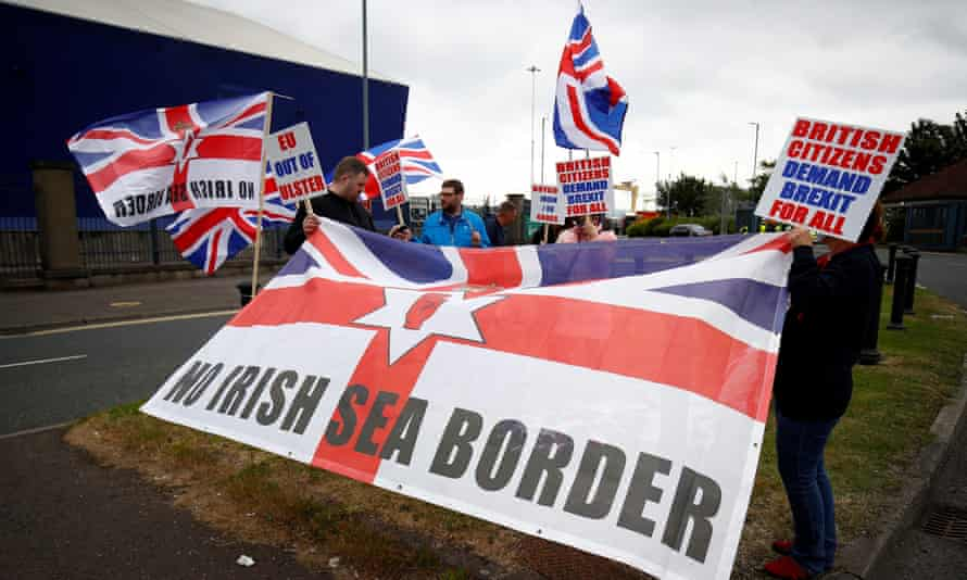 Unionists protest against the Northern Ireland protocol in Belfast on 3 July