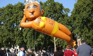 An inflatable caricature balloon of Mayor of London, Sadiq Khan released over Parliament Square in September 2018