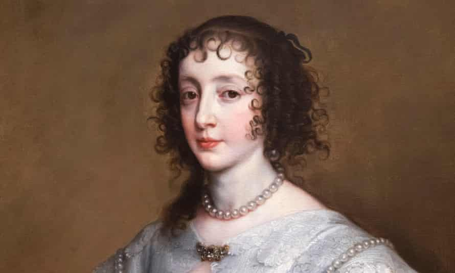 A painting of Henrietta Maria, in fine clothes, by Anthony Van Dyck (detail)
