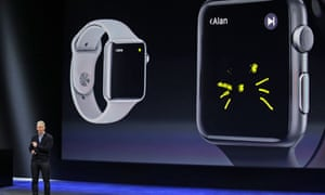 Cook explains the features of the new Apple Watch last year.