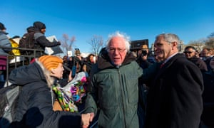 Bernie Sanders in Washington on Friday in protest against the tax bill. 'It is based on the fraudulent theory of trickle-down economics that never worked, never will work.'