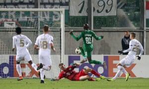 Ludogorets Razgrad's Jody Lukoki scores their first goal.