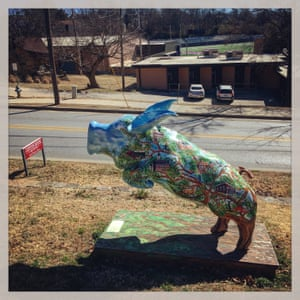 A sculpture of a razorback outside the Clinton House, a historic museum at 930 West Clinton Drive in Fayetteville