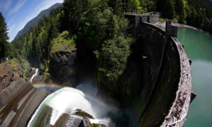 A bird flies past water spilling through the Glines Canyon Dam on the Elwha River