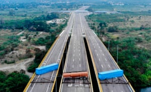 An aerial view of the Tienditas Bridge on the border between Cucuta, Colombia and Tachira after Venezuelan military forces blocked it with containers ahead of an anticipated humanitarian aid shipment.