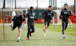 Manchester United players at training last week. They were due at the training ground on Tuesday but have been told to stay away.