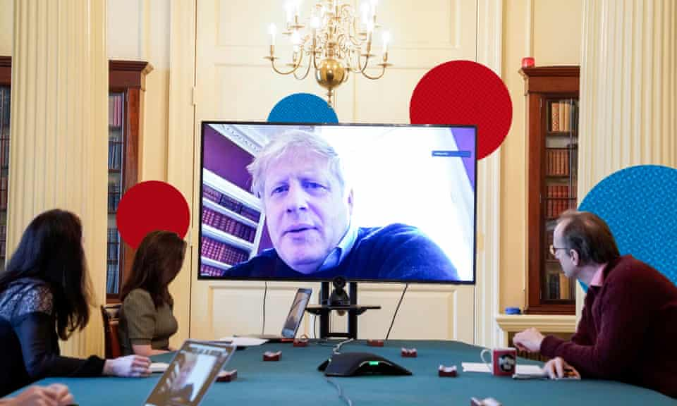 Boris Johnson chairing a Covid-19 meeting while self-isolating last March after testing positive for the virus