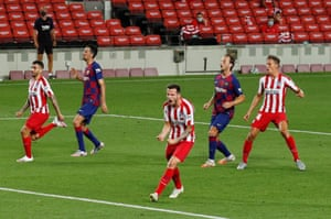 Atletico Madrid's Saul Niguez celebrates scoring his second penalty.