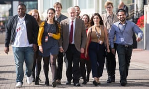 Labour leader Jeremy Corbyn with supporters in Brighton in October.