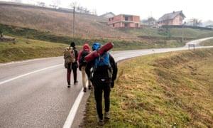 Afghan migrants are seen on their way to Bihać, Bosnia