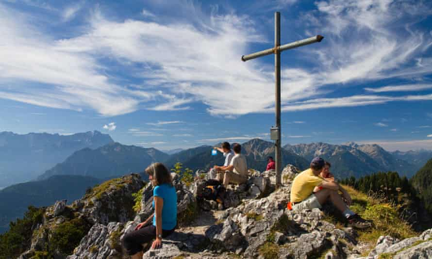 Summit cross on the summit of Ettaler Manndl in Bavaria, Germany