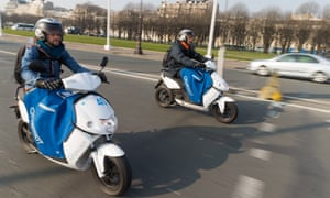 The Cityscoot, the latest addition to Paris's fleet of vehicles for hire, is taken for a ride.